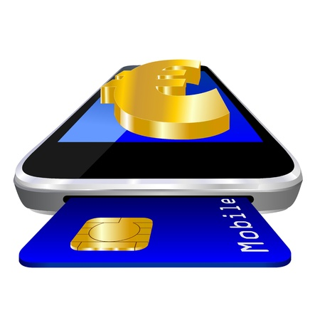 mobile payment illustration with smartphone, credit card an the currency symbol of  Euro symbol  illustration