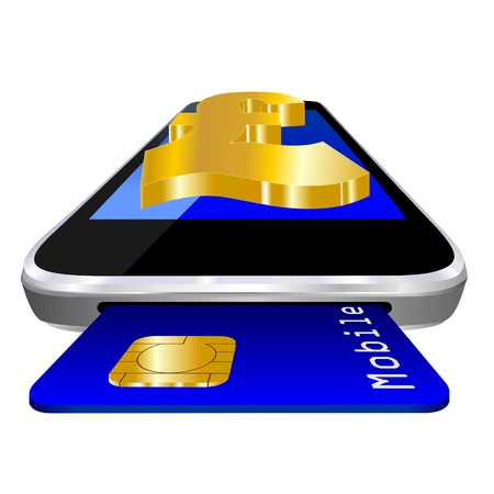 mobile payment illustration with smartphone, credit card an the currency symbol of British Pound Sterling illustration