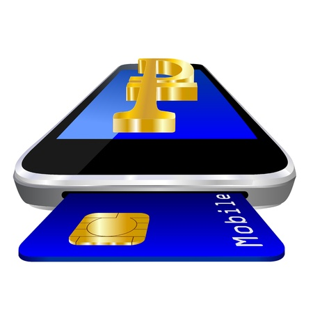 mobile payment illustration with smartphone, credit card an the currency symbol of russian Ruble illustration