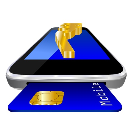 mobile payment illustration with smartphone, credit card an the currency symbol of Indian Rupees illustration