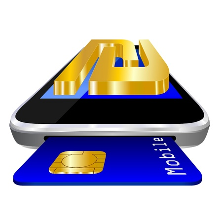 mobile payment illustration with smartphone, credit card an the currency symbol of Israeli shekel symbol illustration