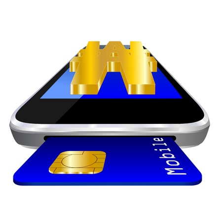 mobile payment illustration with smartphone, credit card an the currency symbol of Korean Won illustration