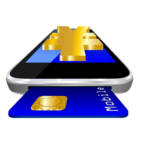 mobile payment illustration with smartphone, credit card an the currency symbol of Japanese Yen illustration