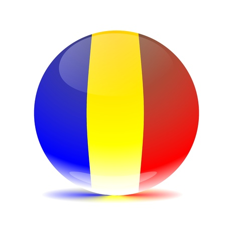 rumania: Rumania flag sphere multi colored shadow Stock Photo