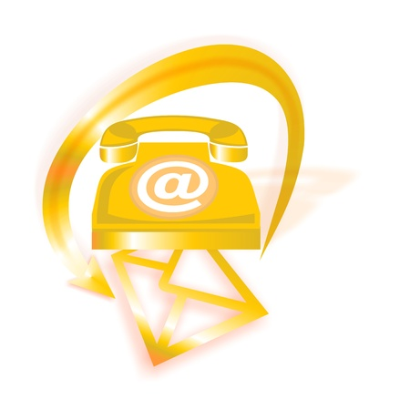 Orange vintage contact icon with retro phone, email icon and letter