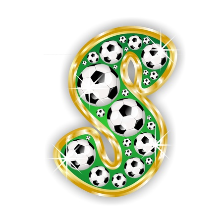 soccer letter S on field with golden frame photo