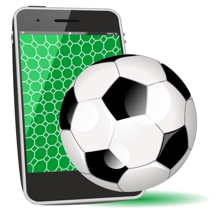 smart phone soccer or cellphone app illustration as icon or symbol illustration