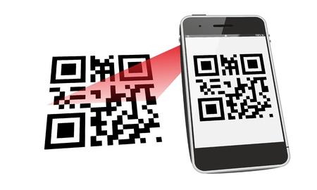 barcode scan: escanear el c�digo QR Smartphone Foto de archivo