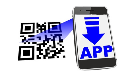 smartphone app download with QR code scan photo