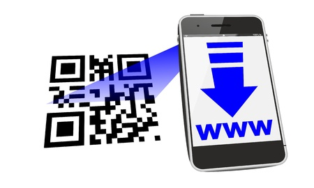 smartphone, mobile device, cell phone connecting to a website with QR code scan