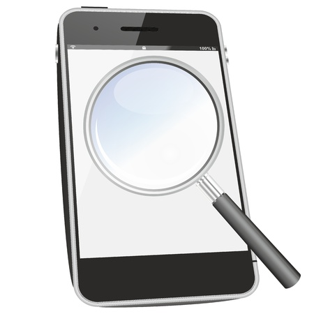 smartphone search icon or symbol as a FAQ illustration, isolated and in perspective point of view