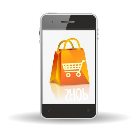 smartphone, mobile shopping icon form-commerce Zdjęcie Seryjne - 20463593