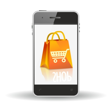 smartphone, mobile shopping icon form-commerce