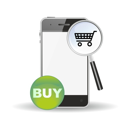 smartphone, mobile commerce shopping search icon