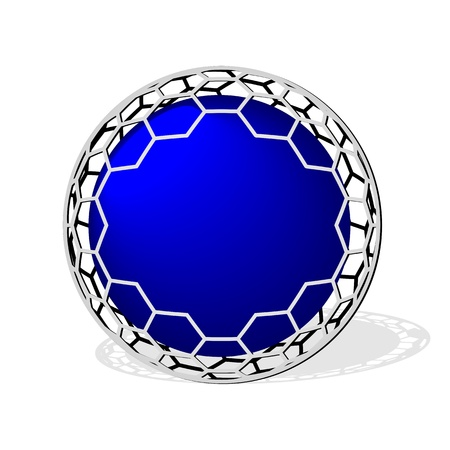 wire mesh: empty blue sphere icon with metal wire mesh