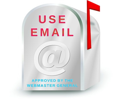 humorous: us mail box as email inbox with the suggestive use email slogan and a humorous bottom line approved by the web master general