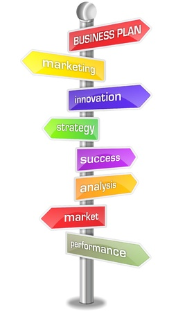 business plan keywords signpost Stock Photo