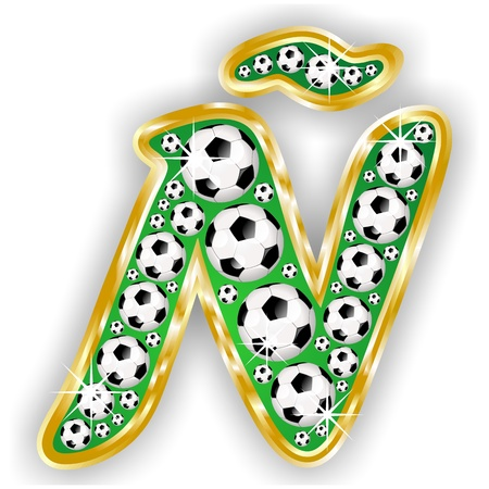soccer letter � on field with golden frame