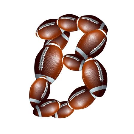 b ball: american football icon alphabet capital letter B