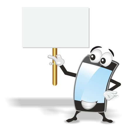smart phone mascot with blue empty screen holding up blank sign board photo