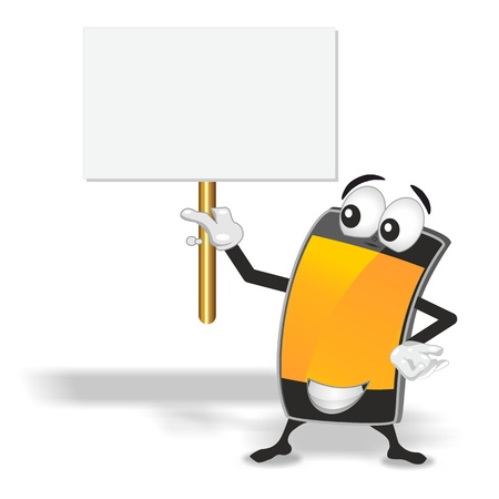 smart phone mascot with orange empty screen holding up blank sign board photo