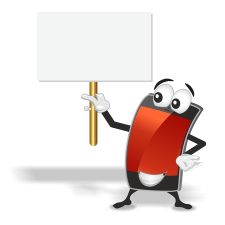 smart phone mascot with red empty screen holding up blank sign board photo