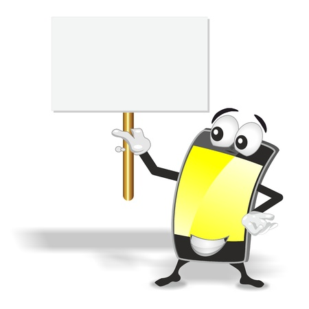 smart phone mascot with yellow empty screen holding up blank sign board photo