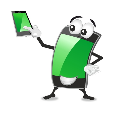 cellphone mascot holding up a smartphone, both green screens are empty giving space for additional text photo