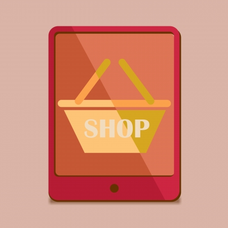 modern Flat Design - tablet pc in red trend colors, mobile shopping icon photo