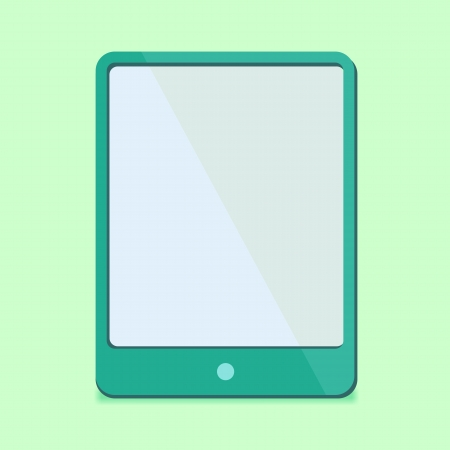 modern Flat Design - tablet pc in green in red trend colors photo
