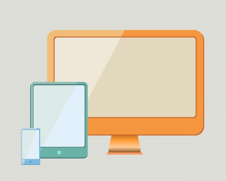 smartphone, tablet pc and desktop as modern flat design photo
