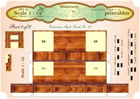 puppenhaus: VIKTORIANISCHER BUREAU DESK Teil 1 von 6 - Dollhouse Miniatures - printables Lizenzfreie Bilder