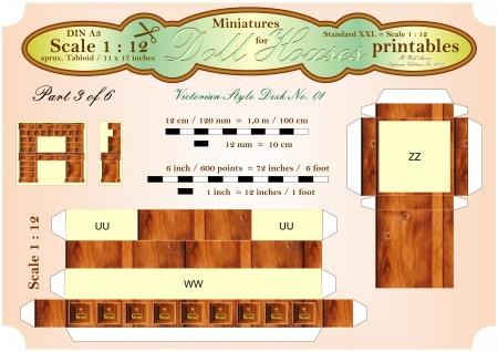 VICTORIAN BUREAU DESK 3 of 6  - DOLLHOUSE MINIATURES  - printables Stock Photo