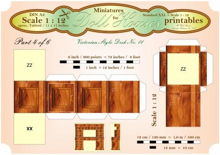 puppenhaus: VIKTORIANISCHER BUREAU DESK Teil 4 von 6 - Dollhouse Miniatures - printables
