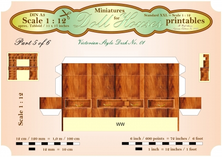 puppenhaus: VIKTORIANISCHER BUREAU DESK Teil 5 von 6 - Dollhouse Miniatures - printables Lizenzfreie Bilder