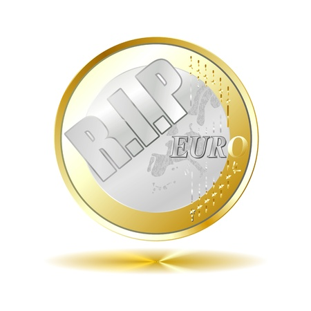 floating market: Euro coin - R I P  with golden shadow reflection