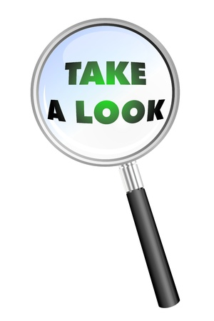 TAKE A LOOK  magnifying glass Zdjęcie Seryjne - 20761555
