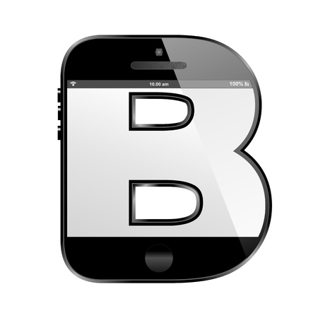 b cell: smart phone shaped, alphabet design letter, Z Stock Photo