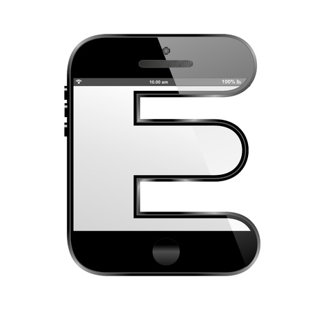 e new: smart phone shaped, alphabet design letter, Z Stock Photo