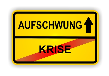 ortsschild: German antonym - Ortsschild - AUFSCHWUNG - KRISE