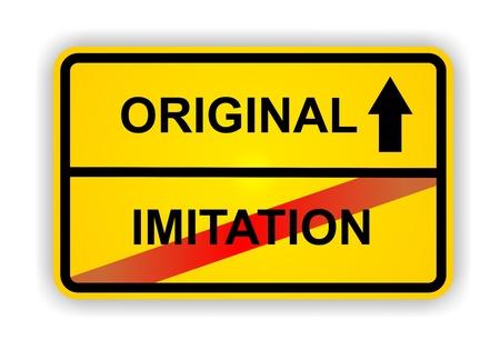 imitation: German antonym - Ortsschild - ORIGINAL - IMITATION  Stock Photo