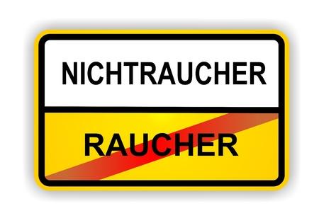 ortsschild: German antonym - Ortsschild - RAUCHER - NICHTRAUCHER