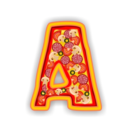 PIZZA - LETTER - A of the alphabet