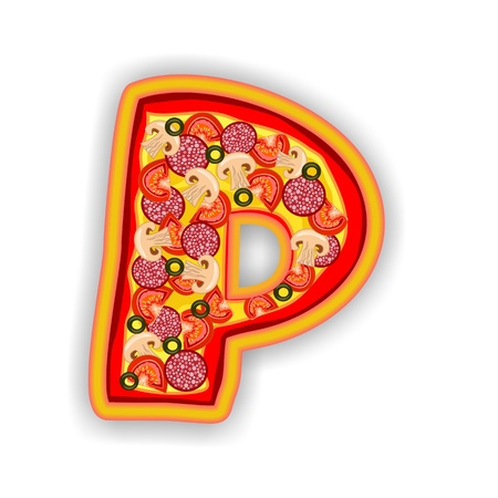 PIZZA - LETTER - P of the alphabet