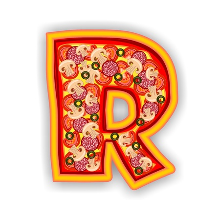 PIZZA - LETTER - R of the alphabet