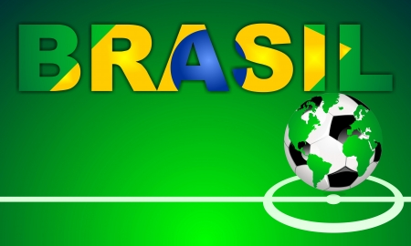 BRASIL - BRAZIL, in brazilian and portuguese language - background with world globe football icon on green field with center line  Word designed with a abstract brazilian flag photo
