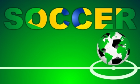 SOCCER - background with world globe football icon on green field with center line  Word designed with a abstract brazilian flag photo