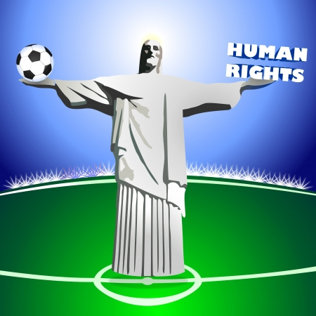law of brazil: HUMAN RIGHTS and SOCCER, illustration of Jesus Christ statue or monument of Rio de Janeiro the brazilian capital