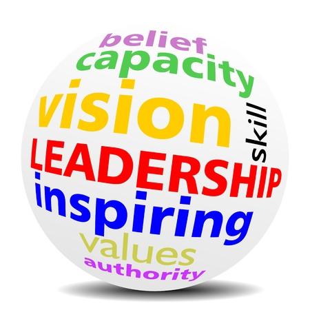 LEADERSHIP as a inspiring vision, word cloud or tagcloud in a magnifying SPHERE with a shadow Illustration