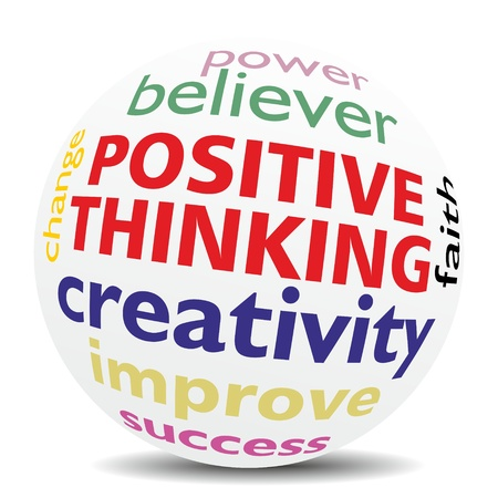 POSITIVE THINKING, as a creative improvement in a word cloud  designed in a 3D SPHERE with shadow on the ground